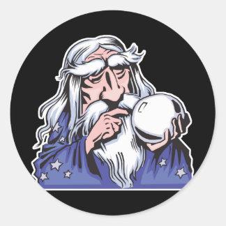 old white wizard merlin classic round sticker