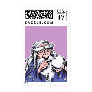 old white wizard merlin postage