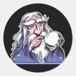 old white wizard merlin round sticker
