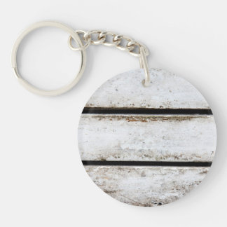 Old white wood keychain