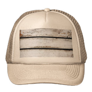 Old white wood trucker hat