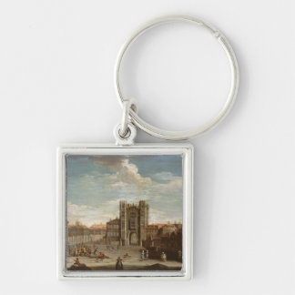 Old Whitehall and the Privy Garden Silver-Colored Square Keychain