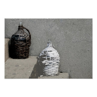 OLD WICKER BOTTLES POSTER
