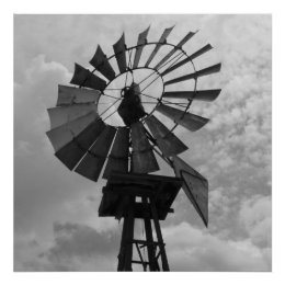 Old Windmill Black and White print