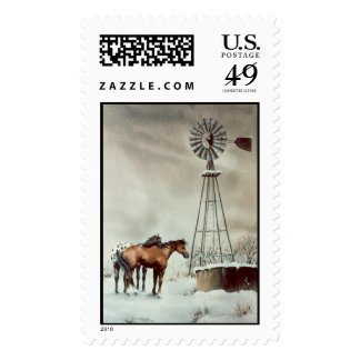 OLD WINDMILL by SHARON SHARPE Postage Stamps