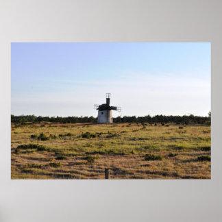 Old Windmill Gotland Island Sweden Poster