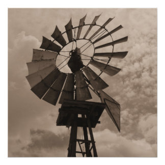 Old Windmill Sephia print