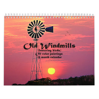Old Windmills : Oil Color Paintings Calendar
