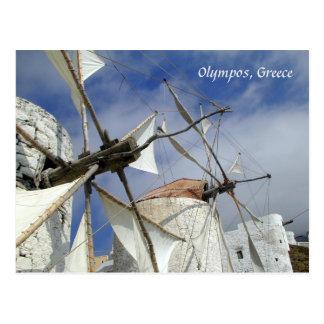Old Windmills Olympos Karpathos, Greece with text Postcard