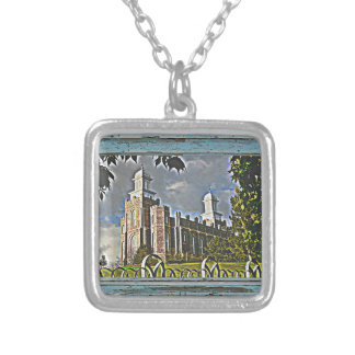 Old window Logan temple 2 Silver Plated Necklace