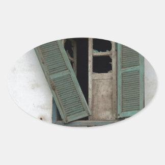old window oval sticker