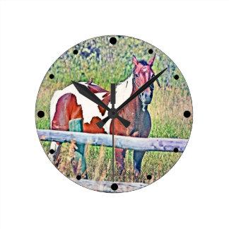 Old window pony 1 round wall clocks