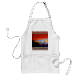 Old window red sunset adult apron