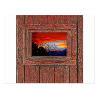 Old window red sunset postcard