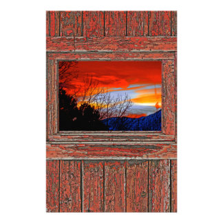 Old window red sunset personalized stationery