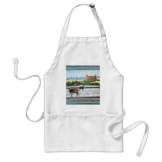 Old window temple blue adult apron