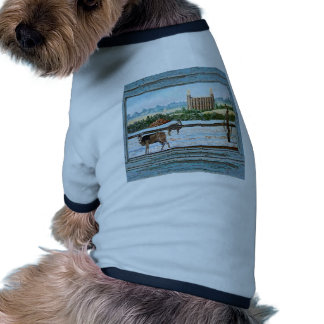 Old window temple blue doggie shirt