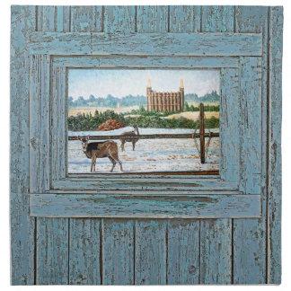 Old window temple blue printed napkin