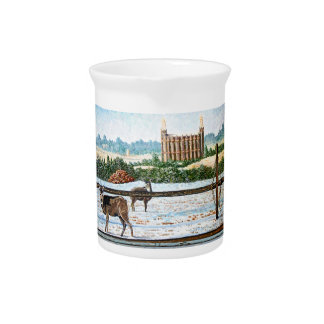 Old window temple blue drink pitcher