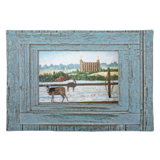 Old window temple blue cloth place mat
