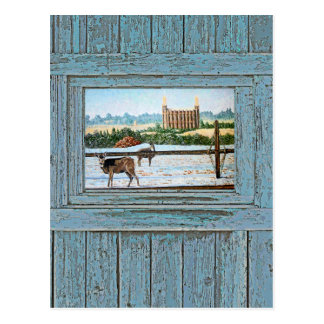 Old window temple blue postcard
