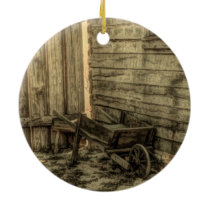 old window wooden wheelbarrow rustic farmhouse ceramic ornament