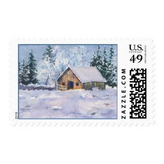 OLD WINTER BARN by SHARON SHARPE Postage Stamp