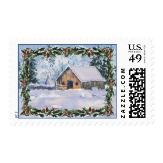 OLD WINTER BARN & FIR BOUGHS by SHARON SHARPE Postage Stamp