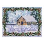 OLD WINTER BARN MERRY CHRISTMAS by SHARON SHARPE Postcard