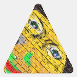Old Wise Biker Face, Graffiti Art Triangle Sticker