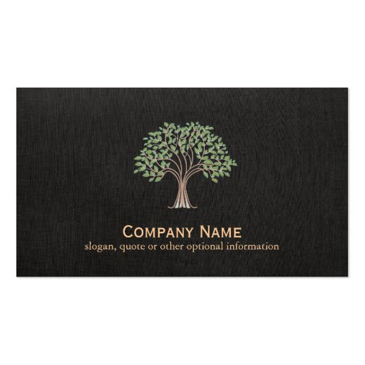Old WiseTree Faux Black Linen Business Card