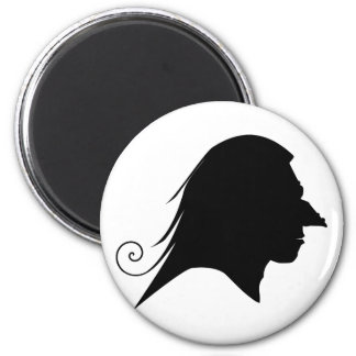 Old Witch Silhouette 2 Inch Round Magnet