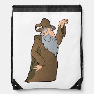 old Wizard cartoon. Drawstring Bag