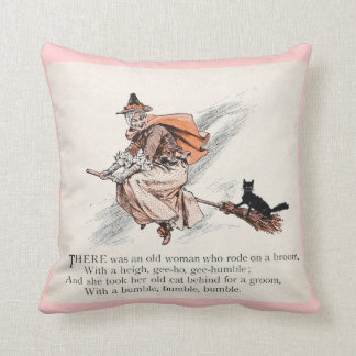 Old Woman and Cat Pink Throw Pillow
