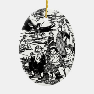 Old Woman and Shoe House Nursery Rhyme Ceramic Ornament
