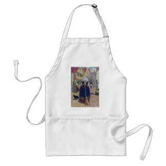Old Woman, Cat and Broom Nursery Rhyme Adult Apron