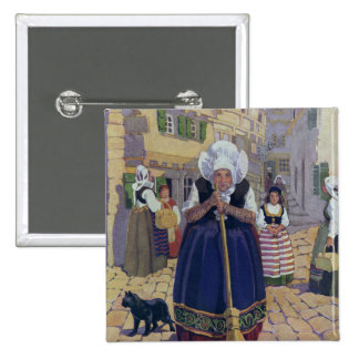 Old Woman, Cat and Broom Nursery Rhyme Pinback Button