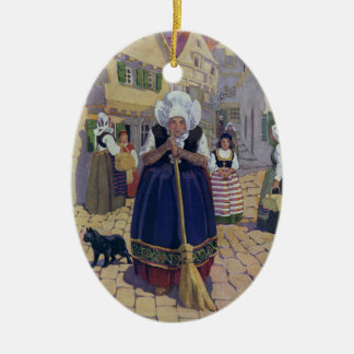 Old Woman, Cat and Broom Nursery Rhyme Ceramic Ornament