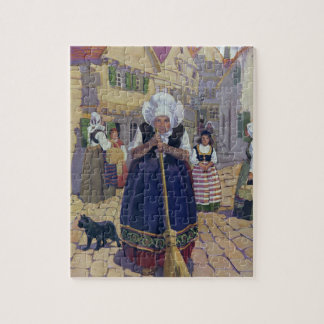 Old Woman, Cat and Broom Nursery Rhyme Jigsaw Puzzle