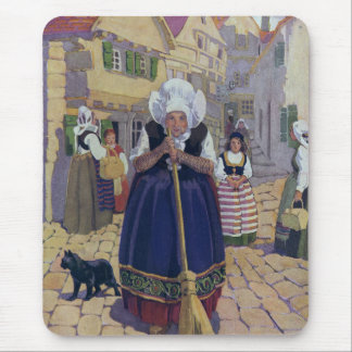 Old Woman, Cat and Broom Nursery Rhyme Mouse Pad