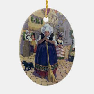 Old Woman, Cat and Broom Nursery Rhyme Christmas Ornament