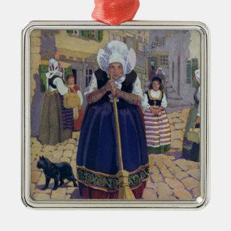 Old Woman, Cat and Broom Nursery Rhyme Christmas Ornaments