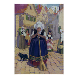 Old Woman, Cat and Broom Nursery Rhyme Poster