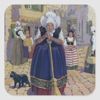 Old Woman, Cat and Broom Nursery Rhyme Square Sticker