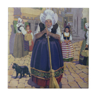Old Woman Cat and Broom Nursery Rhyme Ceramic Tiles
