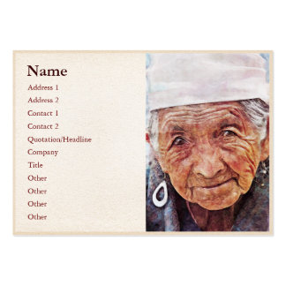 Old Woman classic digital portrait painting Large Business Card