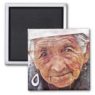 Old Woman cool watercolor portrait painting 2 Inch Square Magnet