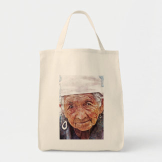 Old Woman cool watercolor portrait painting Bags