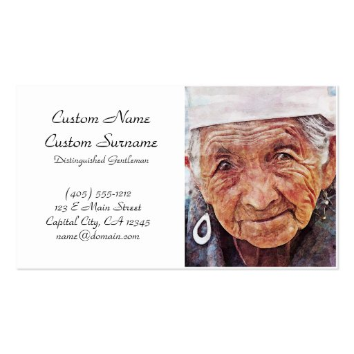 Old Woman cool watercolor portrait painting Business Card Templates