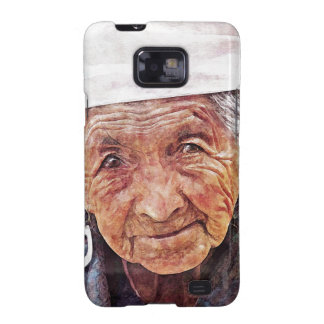 Old Woman cool watercolor portrait painting Galaxy SII Case